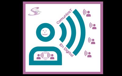Logotipo de ComunicaT en digital, un icono de una persona comunicandose a través de la red wifi